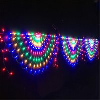 Wholesale peacock christmas tree resale online - EU US Plug M Peacock Mesh Net Led String Lights Outdoor Fairy Garland for Wedding Christmas Wedding New Year Party Decoration Y200603