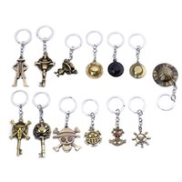 Wholesale one piece skull hat resale online - ZXMJ One Piece Keychain Creative Metal Luffy Pirate Pendant Car Keyring Straw hat skull Anchor Jewelry Chaveiro For Men Women