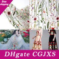 Wholesale Wedding Dresses cm X cm Flower Floral Embroidery Black Mesh Wedding Dress Lace Fabric