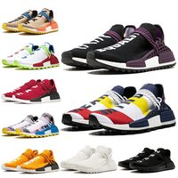 Wholesale trail racing shoes for sale - Group buy New Classic Human Race Hu trail Running Shoes Pharrell Williams Triple Black White yellow Solar Pack Sun Glow Women Mens Trainers Sneakers