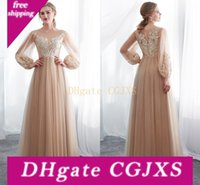 Wholesale wedding dress look resale online - Cheap Champagne Long Poet Sleeves Wedding Dresses Gorgeous Summer Beach Floor Length Lace Appliqued Wedding Bridal Gowns Look Cps1015