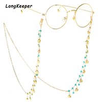Wholesale eyeglasses chains cords resale online - Fashion Womens Gold Eyeglass Chains Sunglasses Reading Beaded Glasses Chain Eyewears Cord Holder neck strap Rope cm