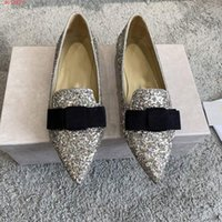 Wholesale range shoes resale online - Pink and silver flats with pointed toe and versatile bow sequins Quality flat dress shoes in the fall range