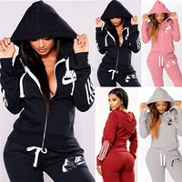 Wholesale sport suit casual clothes jacket for sale - Group buy Women Brand Sweatsuit hooded two piece sets sports outfits long sleeve jacket leggings winter clothes jogger suit casual sportswear