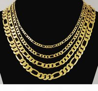 Wholesale asian 24k gold chains resale online - Classic Figaro Cuban Link Chain Necklace K Real Gold Plated Stainless Steel Fashion Jewelry Accessories Punk Style Vacuum plating jewelry