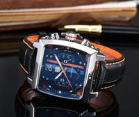 Wholesale leather watche resale online - High quality TAG mechanical automatic watch men luxury square watch Mens Leather strap sport watch Famous fashion designer mechanical watche