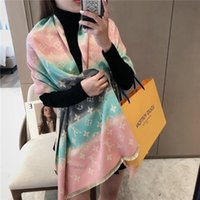 Wholesale geometric print scarves for sale - Group buy New Fashion printing brand Womens soft Cashmere blend Autumn and winter tourism Designer Shawl luxury scarves lLV Scarf l