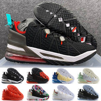 Wholesale kid shoes sale resale online - Lebron XVIII Gang Oreo Black University Red White Kids Basketball shoes Hot Sale s Jade Men Sneaker
