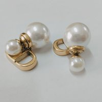 Wholesale copper pearls resale online - High quality Luxury Designer item CD letter Dangle Chain Earrings stud pearl fashion charm drop earring women Correct Letters Logo