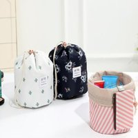 Wholesale round barrel bag for sale - Group buy Women Makeup Bag Barrel Shaped Cosmetic Bags Printing Drawstring Travel Pouch Toiletry Bags Cactus Flamingo Flower Bags DHC894
