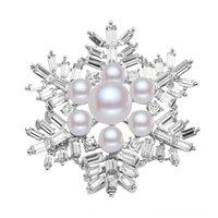 Wholesale snowflake crystal brooch pin for sale - Group buy pearl high endcorsage pin N591 snowflake pearl brooch new Crystal sweater pin Christmas gift uc12B