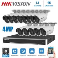Wholesale 13 cameras resale online - 4K Network Hikvision Channels Poe NVR Video Surveillance With Ip Camera Security Night Vision CCTV Security System Kit