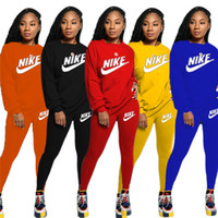 Wholesale auto racing pants resale online - Women Designer Brand Fall Winter Sweatsuit Piece Set Hoodies Pants Sports Suit Crew Neck Sportswear Solid Color Tracksuit Letter Suit