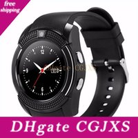 Wholesale sim card watch cell online – V8 Smartwatch Bluetooth Smart Watch With Camera Sim Tf Card Colors For Iphone Android Cell Phone