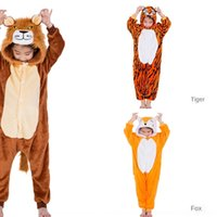 Wholesale boys one piece pajamas resale online - 3JFzA Children s cartoon style animal new lion Tiger FoxTianma furnishing one piece for clothes home clothes home pajamas clothing boys and g