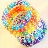 Wholesale number hair resale online - 2450 printed pattern coil multicolor thickened plus number bracelet Hair ring telephone line Bracelet telephone line