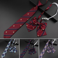 Wholesale boys bowtie resale online - New Arrival Girl Boy Summer School Formal Uniform Tie Set Colorful Stripe Plaid British Ties For Student Children Bowtie Necktie