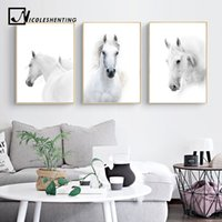 Wholesale white horses painting art resale online - Animal White Horse Wall Art Canvas Posters and Prints Painting Wall Pictures for Living Room Modern Home Decor