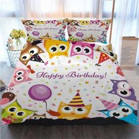 Wholesale cone party hat resale online - 3D Designer Bedding Sets Kids Birthday Party Cartoon Owl Family With Colorful Cone Hats Quilt Bedding Comforter Bedding Sets