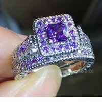 Wholesale princess cut diamond ring sets for sale - Group buy Size Vintage Jewelry Princess cut Amethyst Simulated Diamond CZ Wedding Gemstones Engagement Bridal Rings set for Women love gift