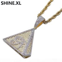 Wholesale egyptian gold pendants for sale - Group buy Hip Hop Gold Plated Egyptian Pyramids Necklace Pendant Iced Out Micro Pave CZ Stone Eye of Horus Necklace for Men Women