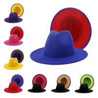 Wholesale flat black cap resale online - Panama Cap Jazz Formal Hat Lady Felt Fedora Hats fashion Patchwork wide Brim caps Unisex Trilby Chapeau for Men Women Red Black NEW