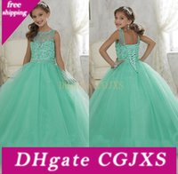 Wholesale girls pagent dresses resale online - Lovely Flower Girls Dresses Jewel Sheer Neck Beaded Rhinestone Girls Pagent Dress Back Lace Up Peplum Tiered Floor Length Party Gown