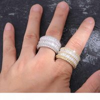 Wholesale golden man rings resale online - iced out rings for men hip hop luxury designer mens bling diamond gold silver ring k gold plated wedding engagement golden Ring jewelry bf