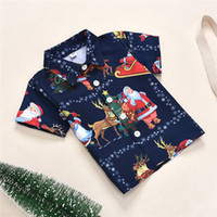 Wholesale Baby Clothes Christmas Children s T Shirt Tops New Year Santa Claus Elk Snowflake Christmas Tree Dark Blue Printed Clothes Fashion Clothing