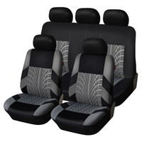 9pcs set Embroidery Car Seat Covers Set Universal Fit Most Cars Covers with Tire Track Styling Auto Interior Decoration Car Seat Protector