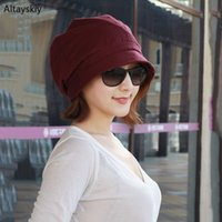 Wholesale coloured beanies resale online - Beanies Women Elegant Solid Colour All match Skullies Simple Soft Womens Breathable Retro Daily Korean Style Warm Trendy Ladies