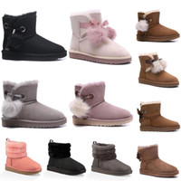 Wholesale peep toes boots resale online - 2020 New Australia women fashion snow boots winter boot mini ladies mini ankle classic girls womens triple navy boots brown size lhXZ