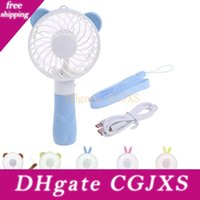 Wholesale cute hand fan for sale - Group buy Portable Hand Fan Battery Operated Usb Power Handheld Mini Rechargeable Fan Summer Cooler With Strap Cute Child Gifts For Outdoor