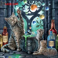 Wholesale paintings animals scenery resale online - Huacan Diy Diamond Painting Cat Mosaic Animal Cross Stitch Embroidery Scenery Decorations For Home Diamond Art