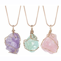 Wholesale crystals rocks resale online - Natural Raw Crystal Pendant Necklace Roungh Tumbled Rock Stone Healing Irregular Handmade Jewelry for Women with long chain