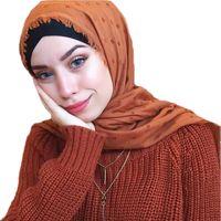 Wholesale women muslim scarf winter resale online - New Women Solid Color Hijab Scarf Polka Dot Shawls Muslim Scarves Cotton WrapsHeadband Winter Scarves Muslim Scarf colors