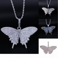 Wholesale big butterfly jewelry resale online - 201908 Animal Big Butterfly Pendant Fashion Necklaces Iced Out Bling Necklace Silver Blue Plated Mens Hip Hop Jewelry Christmas Gift M073F