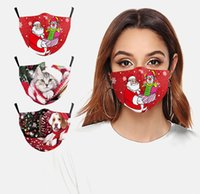 Wholesale recycling cans for sale - Group buy Christmas santa cat and dog print mask PM2 dust and haze mask can be washed and recycled mask