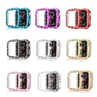 Woman Luxury Two Rows Diamond smartwatch Case for Apple watch 1 2 3 4 5 PC Armor Cover For iwatch 38mm 40mm 42mm 44mm Screen Protective fram