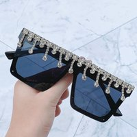 Wholesale diamond sun glasses resale online - womens retro designer luxtury square frame diamond sunglasses for women UV protective sunglass goggles eyewear sun glass occhiali