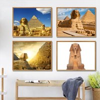 Wholesale egypt painting resale online - Canvas Painting Egyptian Pyramid Sphinx Egypt Famous Pyramid Posters And Prints Land Mark Pictures For Living Room Home Decor
