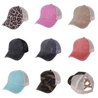Wholesale ponytail pink resale online - Kid Boy Girl Ponytail Baseball Cap Messy Bun Hats Washed Cotton Snapback Ball Caps Summer Sun Visor Fashion Outdoor Hat
