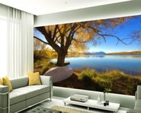 Wholesale oil painting trees living room for sale - Group buy Romantic Landscape d Wallpaper Trees and Lakes Beautiful Landscape Oil Painting Modern Living Room Background Wall d Mural Wallpaper