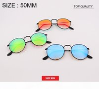 Wholesale circles glasses for sale - Group buy new top quality Women round designer circle Flash gradient Mirror Lens Sun glasses cool men circle metal Style rd3447 Sun glasses UV400