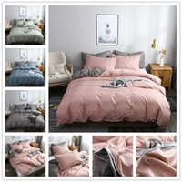 Wholesale green king size quilt covers resale online - FAMIFUN Classic Bedding Set Solid Color Duvet Cover Sets Quilt Covers Pillowcases European Size King Queen Gray Blue Pink Green