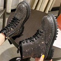 Wholesale bling ankle boots for sale - Group buy 2020 Autumn New Fashion Shoes Woman Leather Boots Bling Rhinestone Lace Up Booties Women Round Toe Ankle Boots Botas Mujer Black