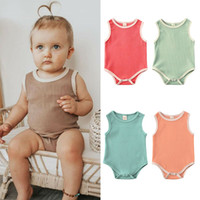 Wholesale newborn baby boy bodysuits resale online - Newborn Baby Solid Romper Clothing Sleeveless Vest Jumpsuit Infants Boys Girls Bodysuits Summer Casual Outfit One piece Clothes M2502