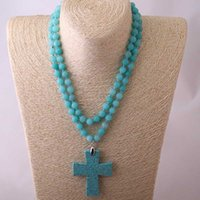 Wholesale semi precious cross resale online - Fashion B ue Semi Precious Stones Beads Statement Necklaces long Knotted Beads Neck Cross Necklace