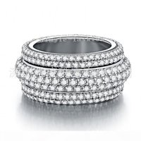 Wholesale clear stone rings resale online - Fashion Jewelry Handmade rows Clear A Zircon stone Sterling silver Women Engagement Wedding Band Ring Sz