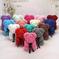 Wholesale teddy bears roses resale online - Bear Rose Flower cm Teddy Artificial Rose Flower With Gift Box Wedding Christmas Decoration Valentine s Day Party Favor DWF1505